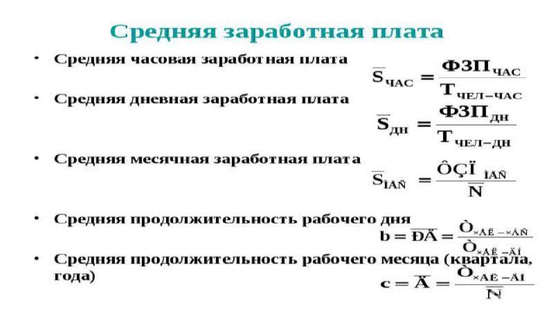 формула расчета средней зарплаты по предприятию